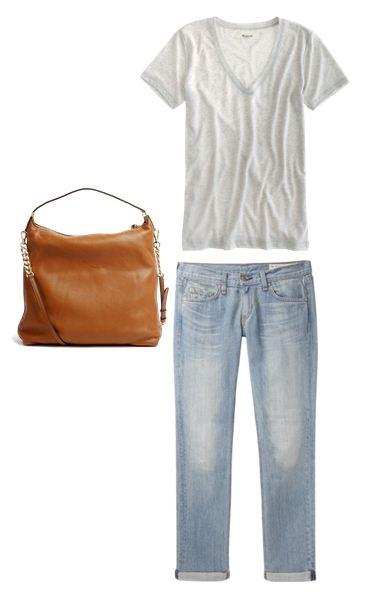 Jeans: Rag & Bone, Slug Tee: Madewell, Bag: Michael Kors