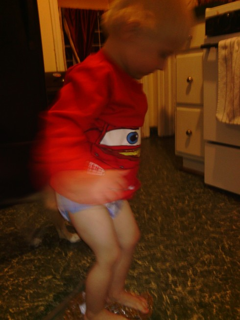 I prefer the toddler stomping method.